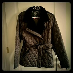 Vince Camuto brown quilted  car coat with belt